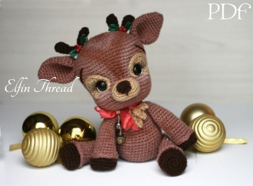 Amigurumi Christmas : Ritva the christmas reindeer amigurumi pdf pattern elfin thread