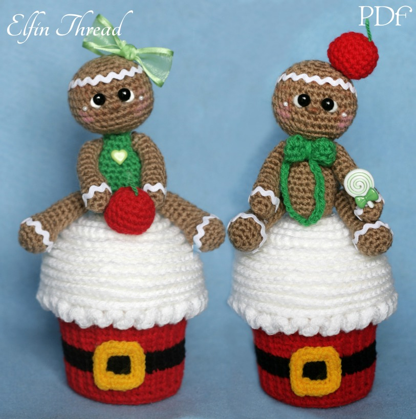 Giant Christmas Cupcake With Gingerbread Man Topper Elfin Thread