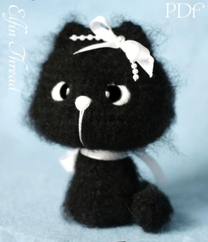 Fuzzy Mini Kitty, Cat Amigurumi PDF Pattern Elfin Thread