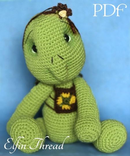Turtle Crochet Amigurumi Pdf Pattern Elfin Thread