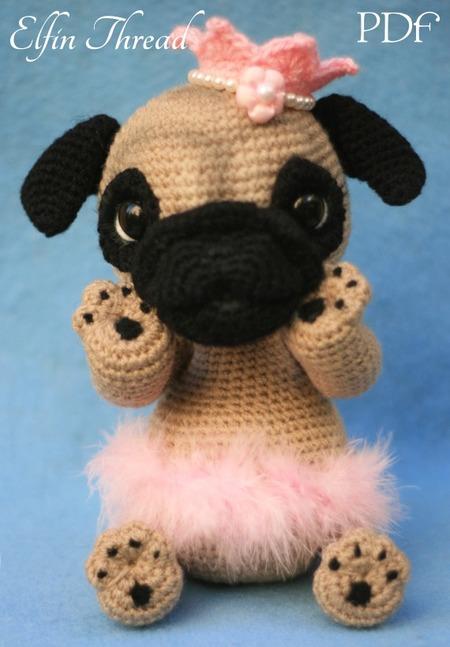 Free Crochet Pug Rug Pattern : Queency The Pug Puppy Amigurumi PDF Pattern Elfin Thread