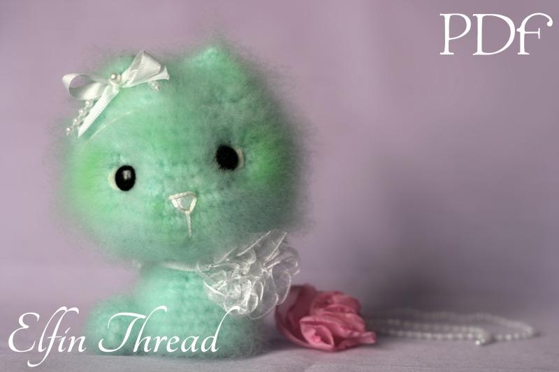 Fuzzy Mini Kitty, Cat Amigurumi PDF Pattern Elfin Thread