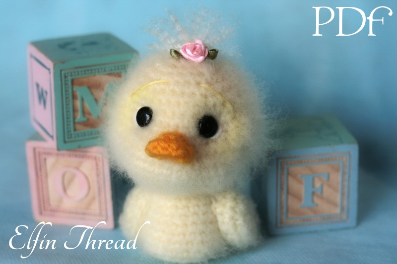 Fuzzy Mini Duck Amigurumi PDF Pattern Elfin Thread