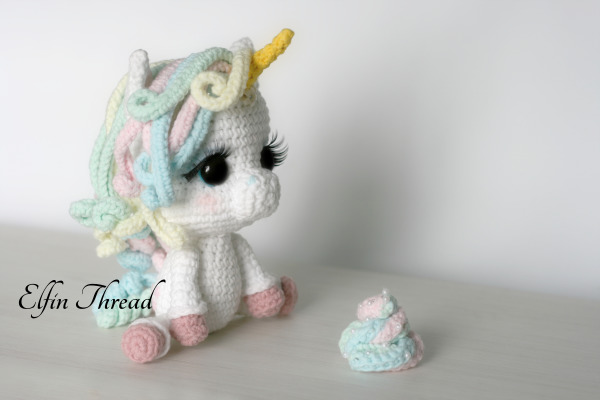 Amigurumi Unicorn : Lily rainbow cheeks the unicorn amigurumi pdf pattern elfin thread