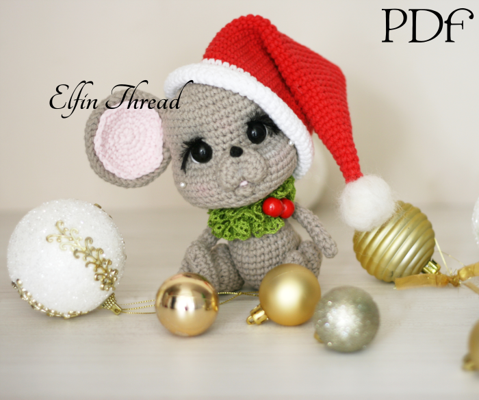 Christmas Mouse.Marichi The Chibi Christmas Mouse Amigurumi Pdf Pattern